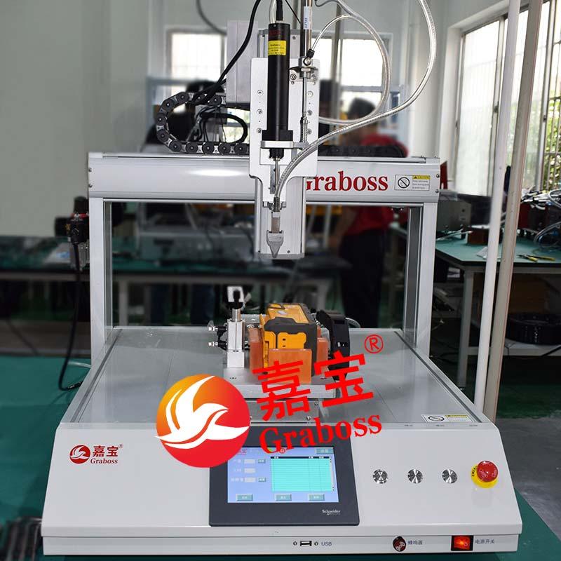 上海某有限公司桌面三轴气吹式锁电池组螺丝机案例
