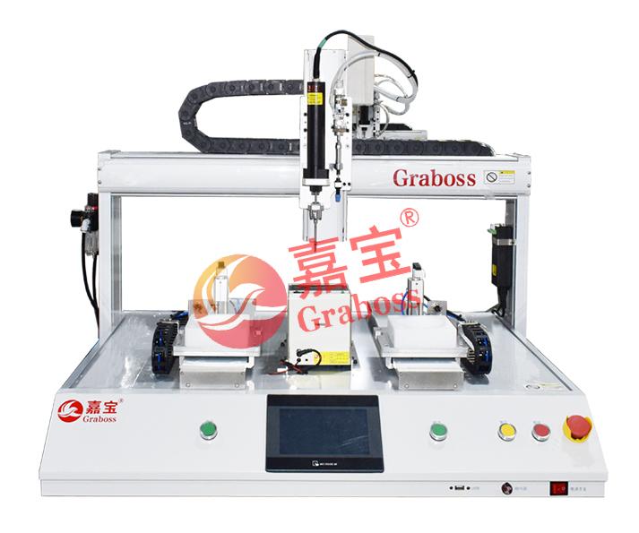 江苏某有限公司桌上型磁吸式锁电池盒自动螺丝机案例