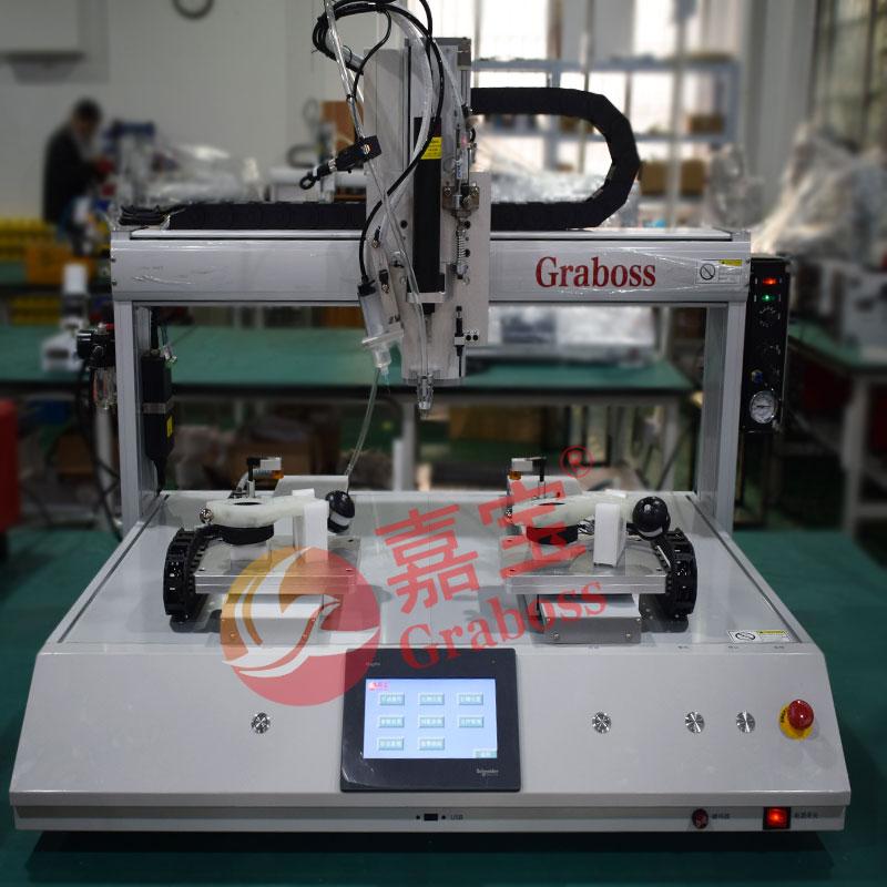 昆山桌面双Y气吹式锁器材配件螺丝机增加点胶模组案例